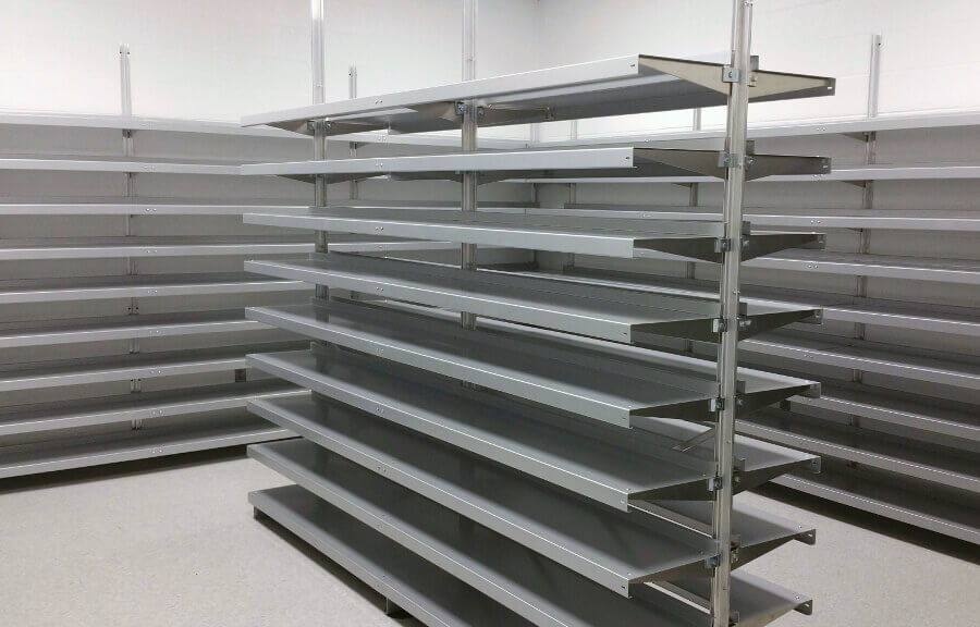 Freestanding Shelving System with Ceiling Anchoring, by E-Z Shelving Systems, Inc.