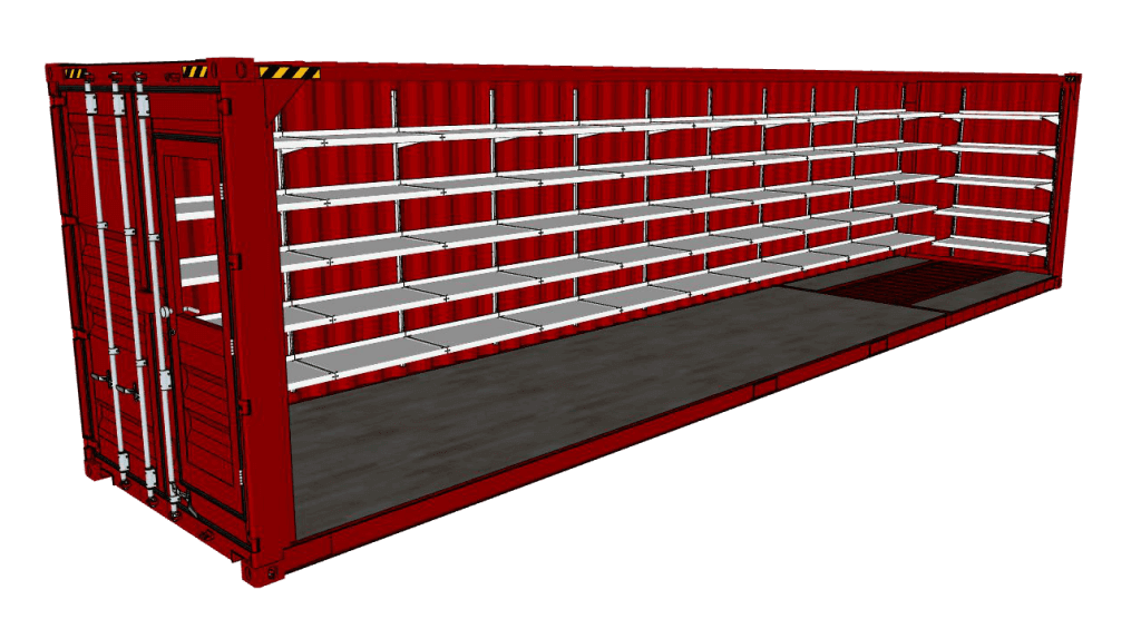 Shipping Container Shelving Systems by E-Z Shelving Systems, Inc.