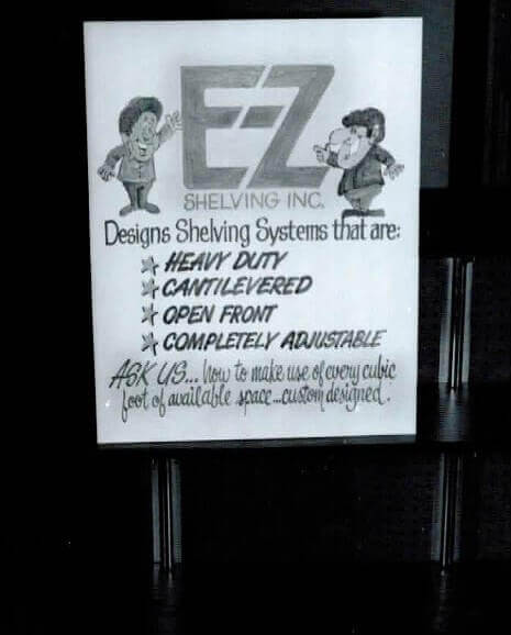 Vintage Signage at an Early Trade Show - E-Z Shelving Systems, Inc.