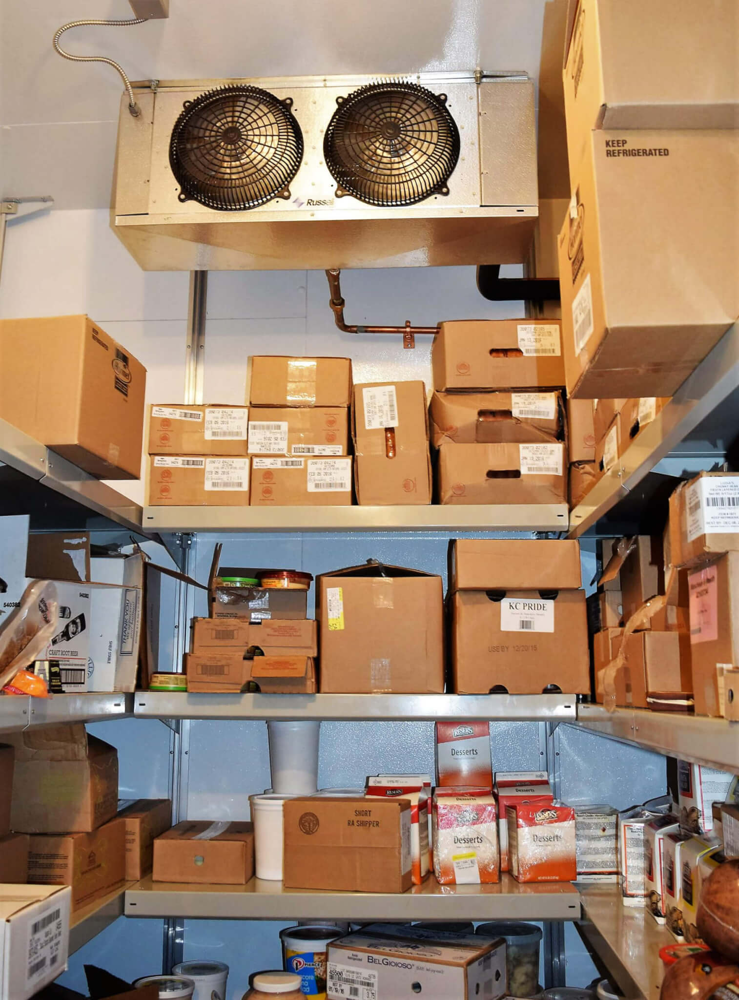 Cantilever Shelving for a Deli Cooler by E-Z Shelving Systems, Inc. - 12-Foot Ceilings