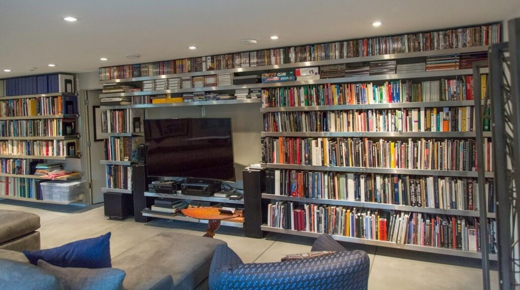 ideas for shelving in garage - Media Room Shelving by E Z Shelving Systems Inc